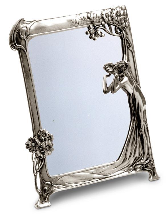 Specchio stile liberty 131 grigio metallo peltro for Specchio 1900